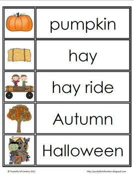 Fall Word Wall Words  - FREE on TpT by Pocketful of Centers