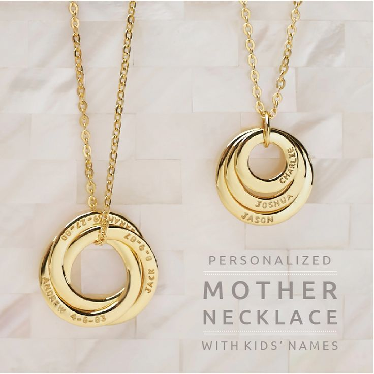 Personalized Mother Necklace With Kids Names Interlocking Ring