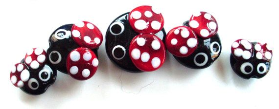 Lampwork bead set of 5 graduated Ladybird beetle beads handmade by Nikki OBrien of Bubbles and Beads