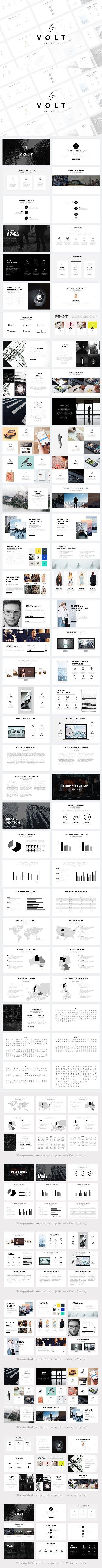 Volt Minimal Keynote Template. Graphic Design Infographics. $20.00