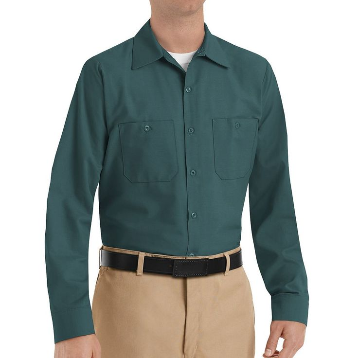 Men's Red Kap Classic-Fit Industrial Button-Down Work Shirt, Size: Medium, Green