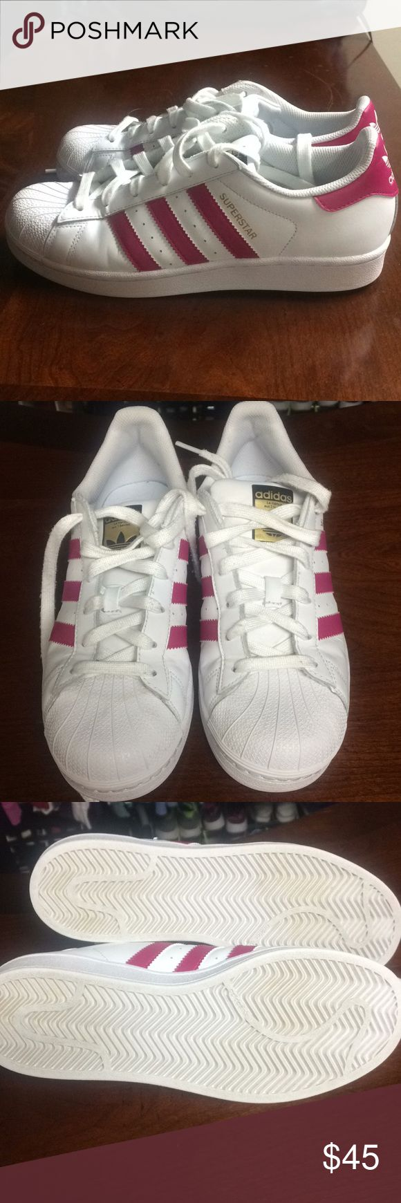 Adidas Superstar athletic shoes Adidas superstar women's size 6.5 worn a few times but still in great condition white with hot pink stripes adidas Shoes Athletic Shoes