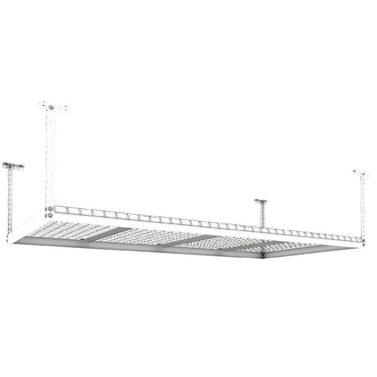 NewAge Products Performance 96 in. L x 48 in. W x 45 in. H Adjustable VersaRac Ceiling Storage Rack in White