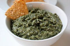 """Creamy Low-Calorie Kale Dip: easy enough, pretty good warm or cold. Not very specific about how much kale (a """"bunch""""?), but I'm thinking a 3 or 4 to 1 ratio of kale to onion+garlic (once everything is steamed down) is a pretty good bet."""