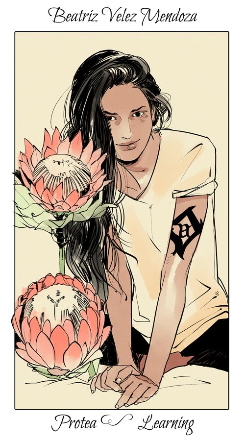 Shadowhunter Academy: Beatriz Velez Mendoza with proteas, The language of flowers (picked by C.Clare, art by C.Jean)