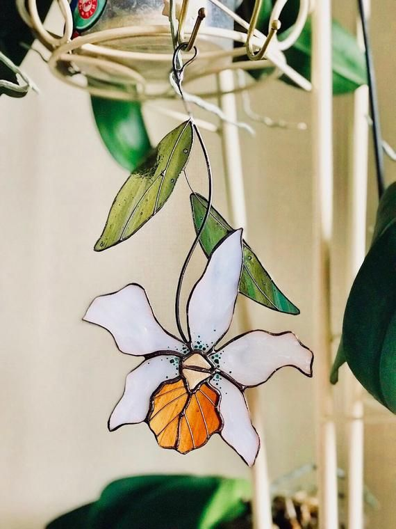 Flower Orchid Stained Glass Suncatcher Modern Stained Glass Decor