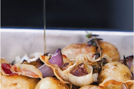 Roast potato salad with crispy pancetta recipe