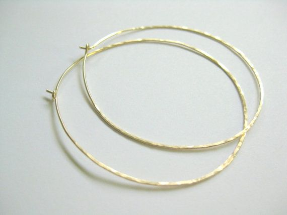 The perfect hoop!  Thin hammered gold hoop earrings large 14k by Michellemurraydesign, 2 in size