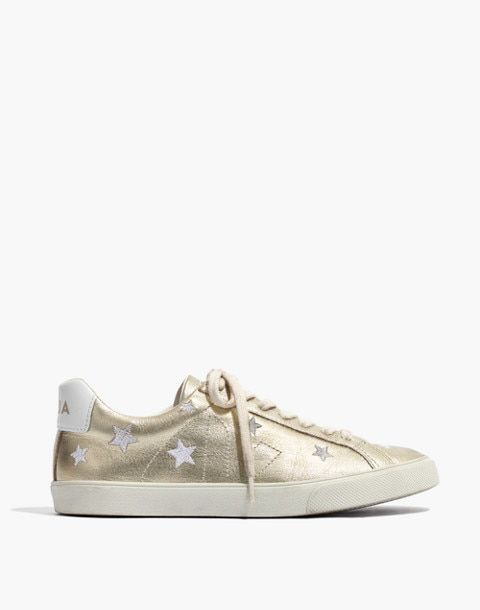 Madewell x Veja™ Esplar Low Sneakers in Star-Embroidered Gold Leather 1eb555cca