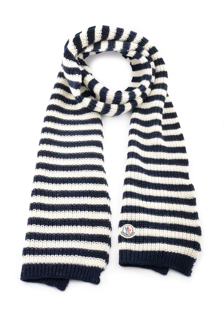 Moncler - Fall Winter 2015 - Menswear // Sciarpa navy and white scarf in wool