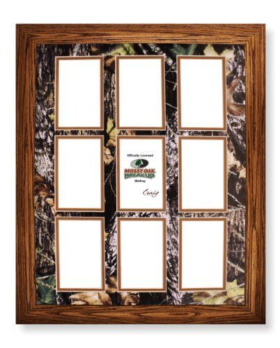 16x20 Wood Frame With 9 Opening Mossy Oak Break Up Camo Collage Mat By Craig