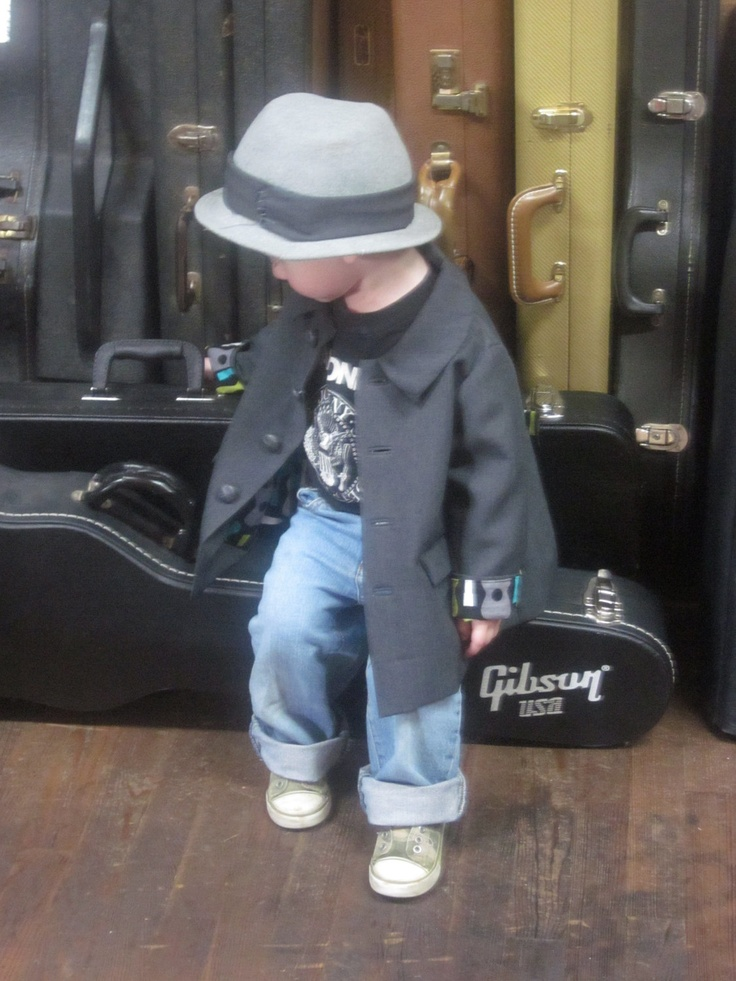 Boys childrens vintage inspired couture detailed toddler suit coat with guitar lining size 1t - 2t.. $89.00, via Etsy.  I love this outfit for our little guy.