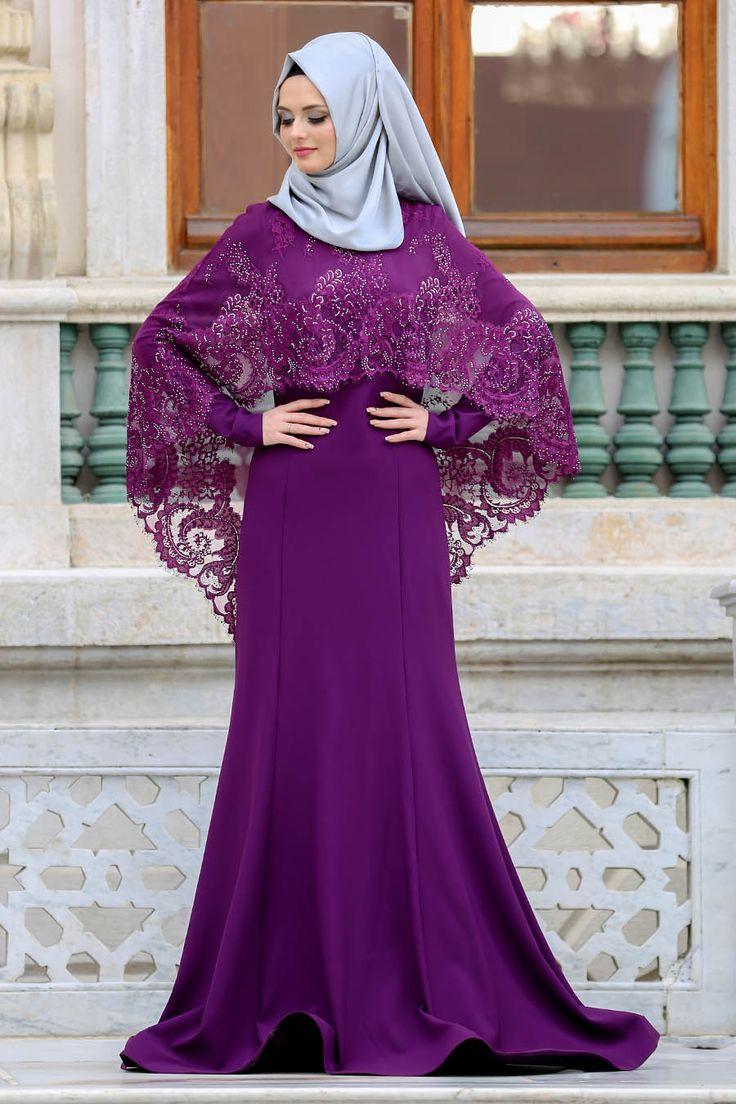 2018 Yeni Sezon Özel Tasarım  Abiye Koleksiyonu Tesettürlü Abiye Elbise - Boncuk Detaylı Mor Tesettürlü Abiye Elbise 43910MOR