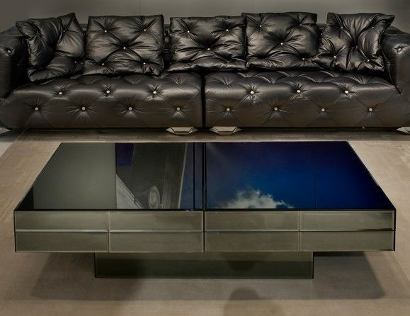 Luxury Italian Coffee Table Shown In Smoke Fume Beveled Glass Standard Glass Colors Available