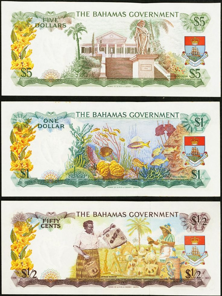 Bahamas Government 1965 Pick 17a, 18a, and 20a with Matching Low Serial Number - 2