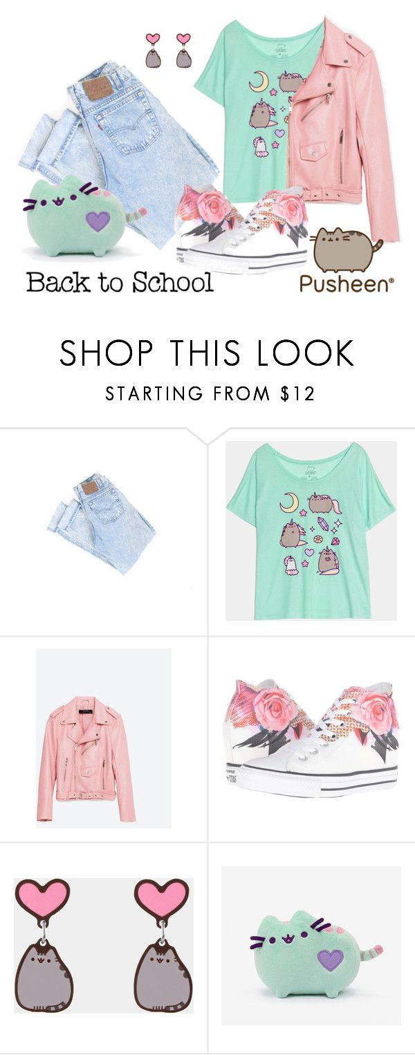 """""""#PVxPusheen LOVE AND WHIMSY"""" by maeve-pascoe ❤ liked on Polyvore featuring Piel Leather, Converse, Pusheen, contestentry and PVxPusheen"""