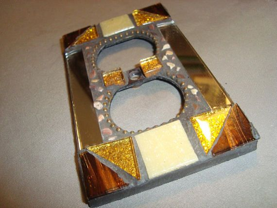 MOSAIC Electrical Outlet COVER  Wall Plate Wall Art Gold