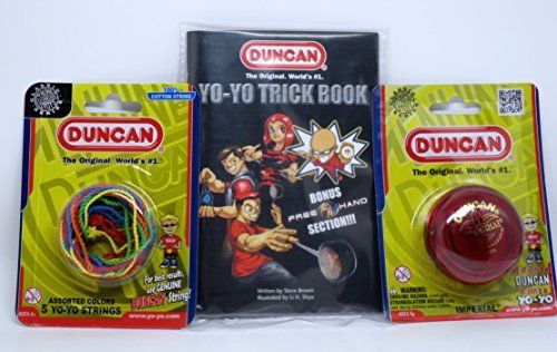 Duncan YoYo Kit - Imperial Red Yo-Yo, Multi-Color Yo-Yo String 5 Pack, and Yo-Yo Trick Book. The imperial yo-yo is great for beginners learning basic string tricks. Featuring a narrow string gap, steel axle, and durable plastic body. String multi-pack contains 5 replacement strings in assorted colors. Strings are made of 100% cotton. Yo-yo trick book has over 660 tricks. Includes bonus free hand section. Good old fashioned fun for kids and adults alike.