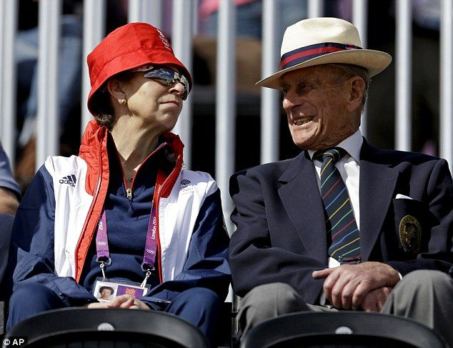 Princess Anne, left, mother of equestrian rider Zara Phillips, attends the equestrian eventing dressage phase with Prince Phillip the Duke of Edinburgh