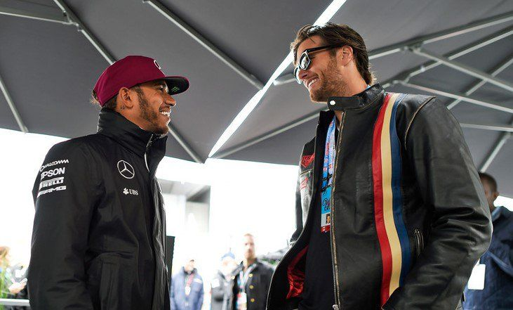 Tom Brady with Lewis Hamilton before the Canadian Formula One Grand Prix at Circuit Gilles Villeneuve on June 12, 2016 in Montreal, Canada.