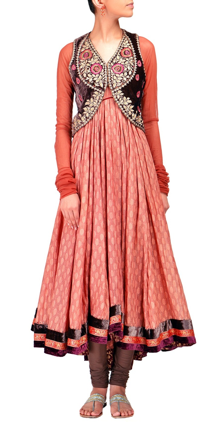 TARUN TAHILIANI  Long kurta with embroidered jacket