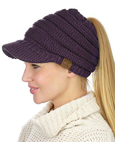 27cd7fcdb38 C.C BeanieTail Warm Knit Messy High Bun Ponytail Visor Beanie Cap ...
