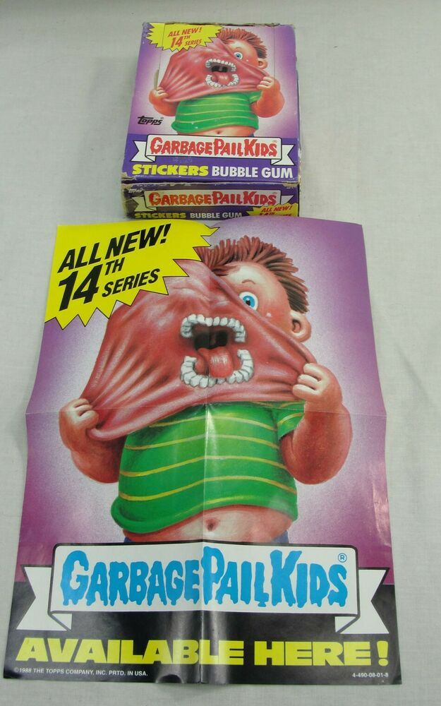 Vtg 1988 Topps Garbage Pail Kids Cards 14th Series Box 46 Wax Packs Gpk W Poster Bubble Gum Gum Bubbles