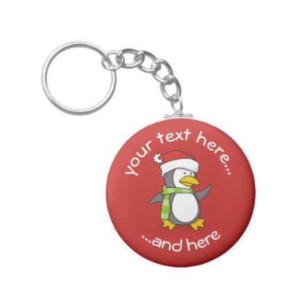 Christmas penguin walking on snow keychain - accessories accessory gift idea stylish unique custom