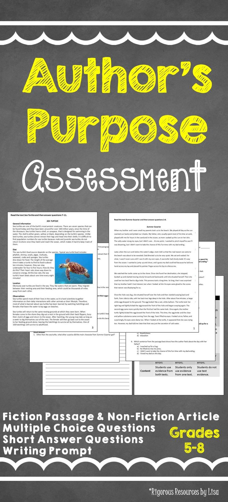 Do your students understand Author's Purpose at a higher level? Find out!!