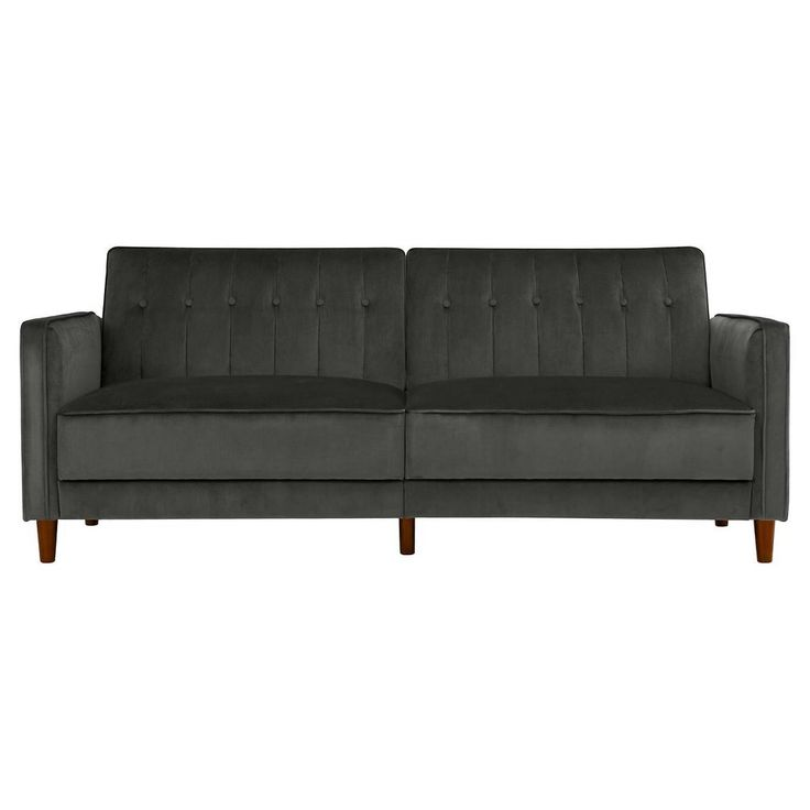 Pin Tufted Transitional Futon - Gray Velvet - Dorel Home Products