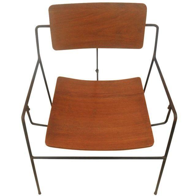 Image of Arthur Umanoff Iron & Walnut Swing Chair
