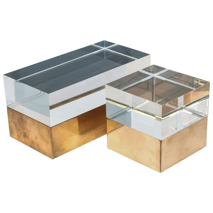Mies Acrylic Boxes in Vintage Brass | From a unique collection of antique and modern boxes at https://www.1stdibs.com/furniture/decorative-objects/boxes/                                                                                                                                                                                 More