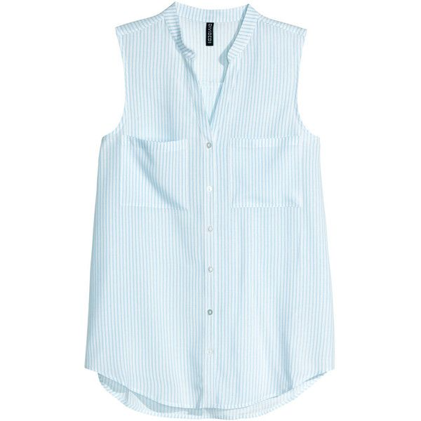 H&M Sleeveless blouse (8.61 AUD) ❤ liked on Polyvore featuring tops, blouses, shirts, h&m, v neck shirt, blue button-down shirts, sleeveless button-down shirts, button shirt and v-neck shirt