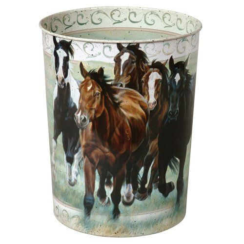 Running Horses Tin Western Waste Basket Southwestern Bathroom Accessories *** Want additional info? Click on the image. Note:It is Affiliate Link to Amazon.