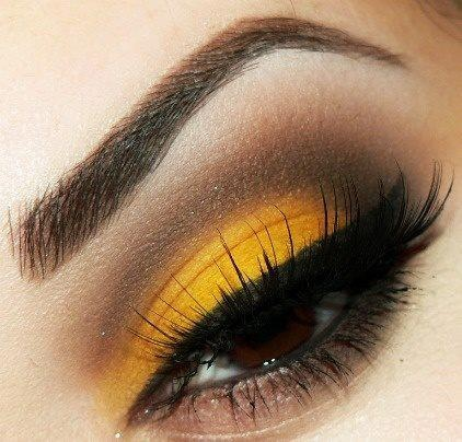 Mustard Yellow and Brown Makeup