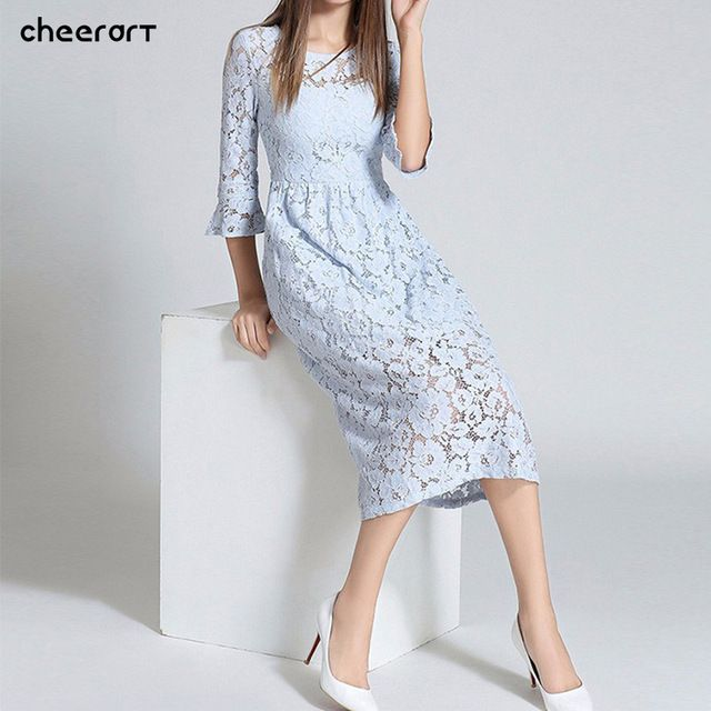 Flash Sale $26.78, Buy Autumn Long Lace Dress Cut Out Pink Blue Fit And Flare Sleeve Bodycon Tunic Evening Party Midi Dress European Style