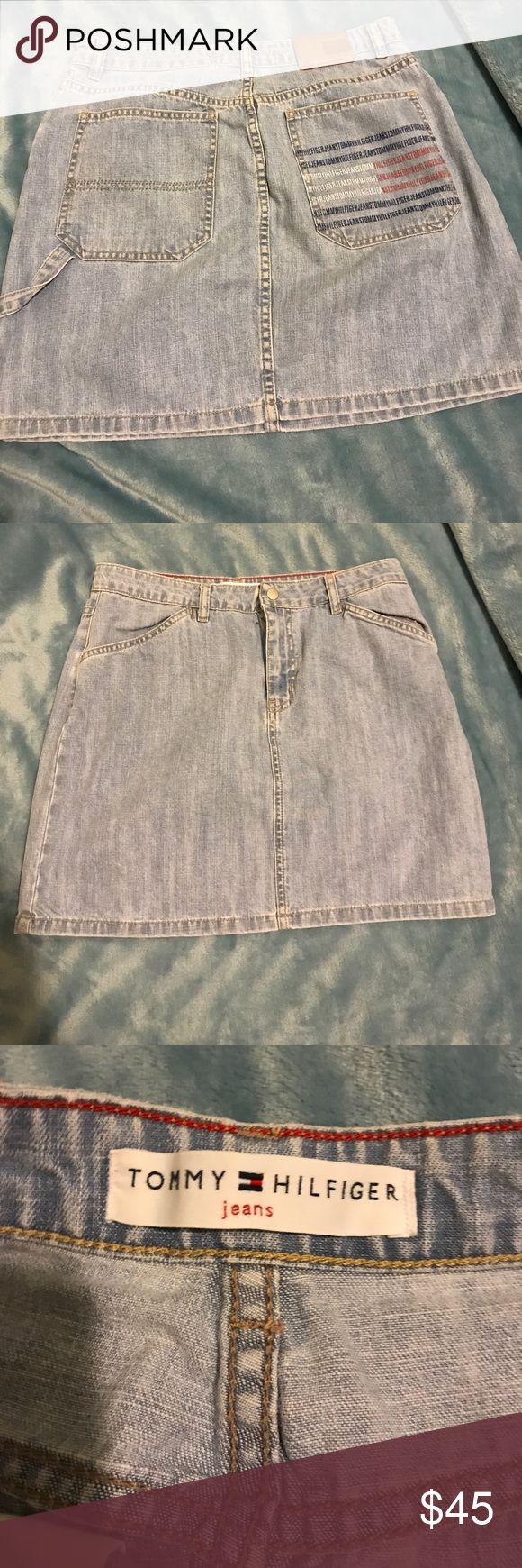 Vintage Tommy Hilfiger Jean Skirt W/ logo Pocket Vintage Tommy Hilfiger Jean Skirt With Branding on Rigyt Pocket Tommy Hilfiger Skirts