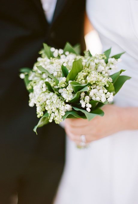 Brides: Dainty, Vintage Lily of the Valley Bouquet. A simple and romantic posy comprised entirely of lily of the valley created by Virginia-based florist Beehive Events.