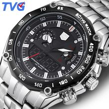 SALE US $49.98 - TVG Watches Men Dual display Clock Stainless Steel Band Sport waterproof Watch Relogio Masculino Quartz Wristwatches