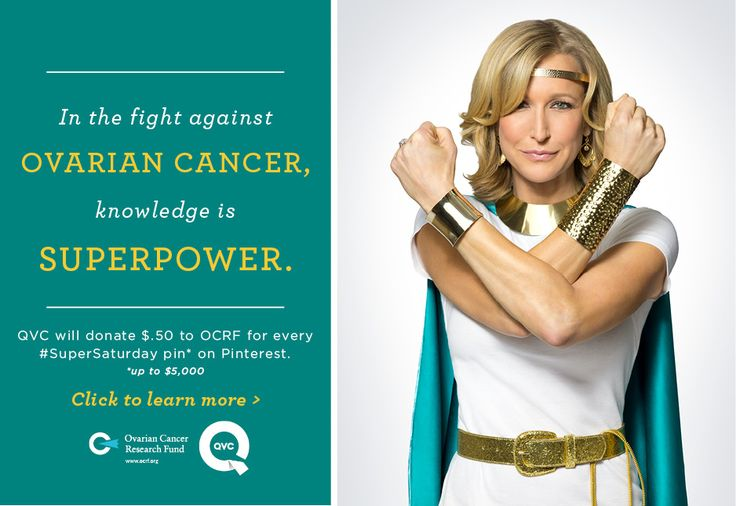 Join the cause! For every time this message is repinned, QVC will donate $.50 to Ovarian Cancer Research Fund, up to $ 5000.