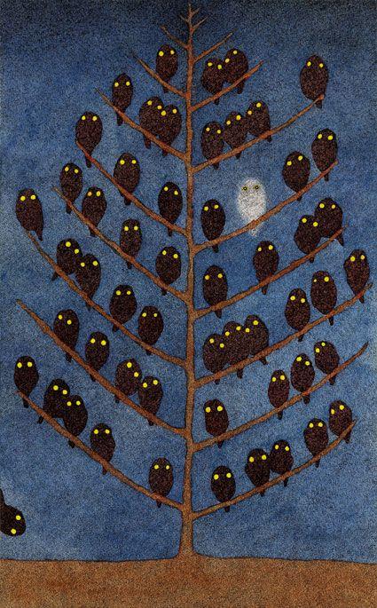 Hiromi Nishizaka —: Illustrations, Hoot Hoot, Art, Night Owl, Hiromi Nishizaka, White Owl, Owls, Owl Tree