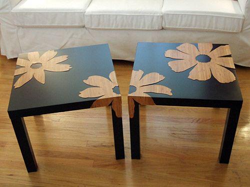 Floral bamboo veneer side tables