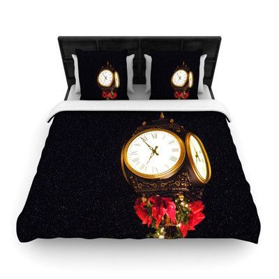 KESS InHouse Xmas Clock by Robin Dickinson Woven Duvet Cover Size: King/California King