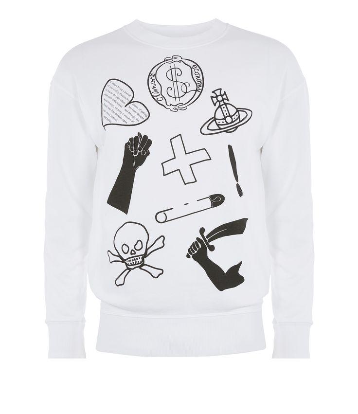 VIVIENNE WESTWOOD White News Sweater Logo'S Mix. #viviennewestwood #cloth #
