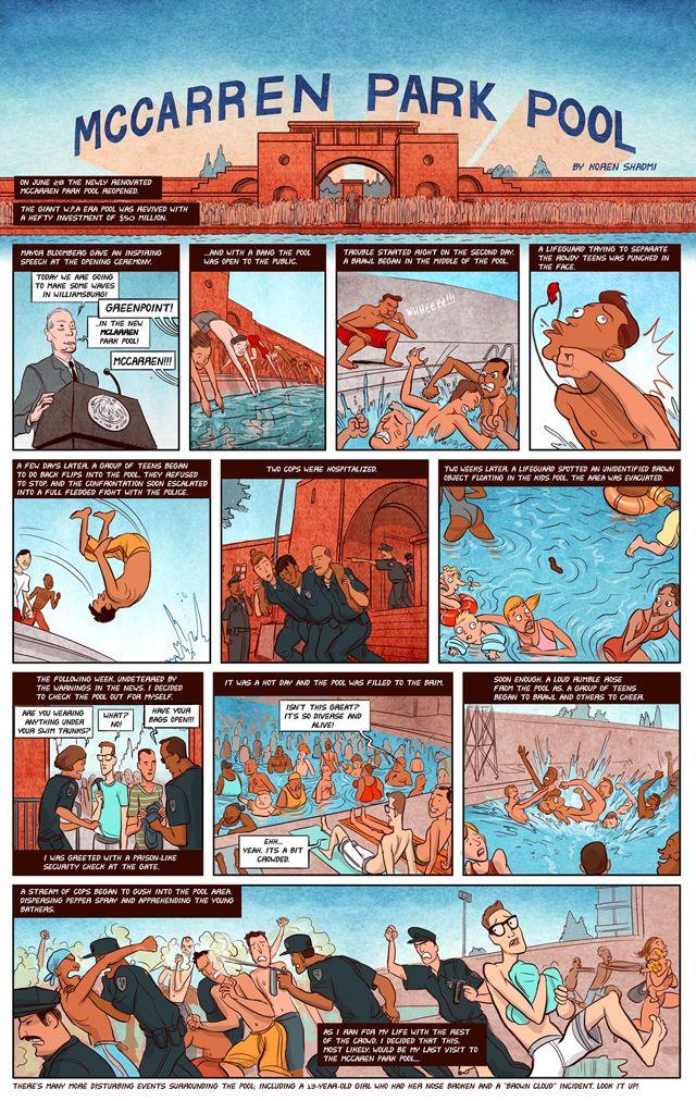 "Tavola tratta da ""McCarren Park Pool"" di Koren Shadmi. Pubblicato da Brooklyn Magazine (USA, 2012)"