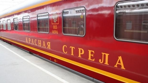 """St Petersburg to Moscow: The """"Red Arrow"""" is another one of those iconic Russian trains, one that's been running between the country's two most famous cities since 1931. It's a little gaudy and over-the-top, but that's what you're paying for here: train travel from another era, when things had to look good as well as work properly."""