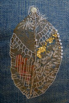 leaf,mixed media,stitch,embroidery