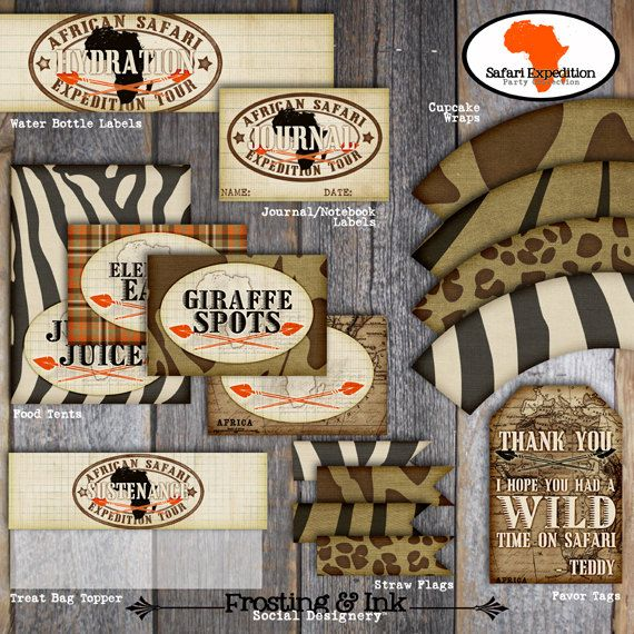 Safari Party - Food Tents (A La Carte) - Customized Printable (Jungle, Wild Animal, Zoo, Africa, Vintage)