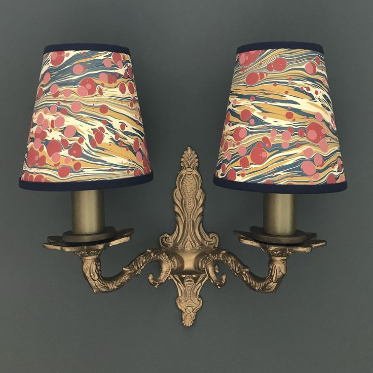 Hand marbled fantasy zebra small candle clip lampshade