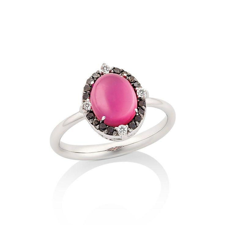 Anel Bombom - Dryzun Ouro branco, diamante, diamante negro e turmalina rosa.
